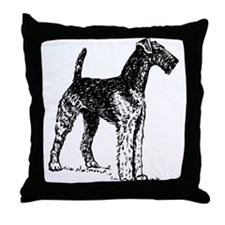 Airedale Sketch Throw Pillow