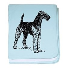 Airedale Sketch baby blanket