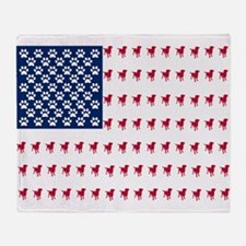 USA Dog Flag Throw Blanket