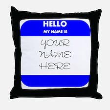 Custom Blue Name Tag Throw Pillow