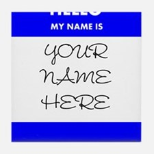 Custom Blue Name Tag Tile Coaster
