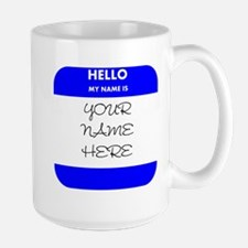 Custom Blue Name Tag Mug
