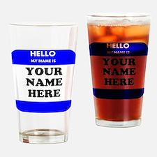Custom Blue Name Tag Drinking Glass