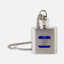 Custom Blue Name Tag Flask Necklace