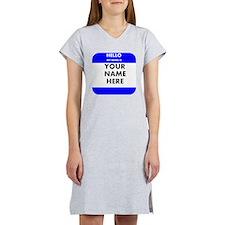 Custom Blue Name Tag Women's Nightshirt