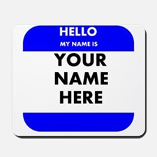 Custom Blue Name Tag Mousepad