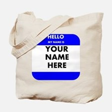 Custom Blue Name Tag Tote Bag