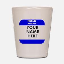 Custom Blue Name Tag Shot Glass