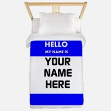 Custom Blue Name Tag Twin Duvet