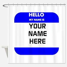 Custom Blue Name Tag Shower Curtain