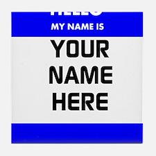 Custom Blue Name Tag Tile Coaster