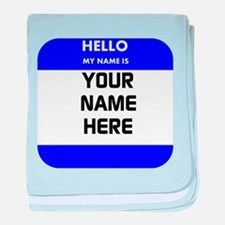 Custom Blue Name Tag baby blanket