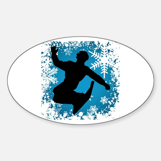 Snowboarding (Teal) Oval Decal