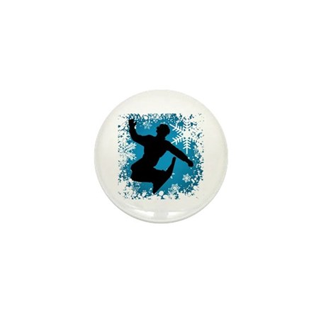 Snowboarding (Teal) Mini Button (100 pack)