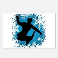 Snowboarding (Teal) Postcards (Package of 8)