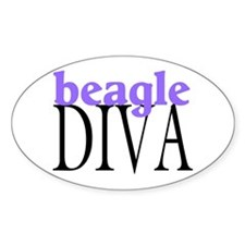Beagle Diva Oval Decal