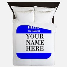 Custom Blue Name Tag Queen Duvet