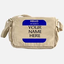 Custom Blue Name Tag Messenger Bag