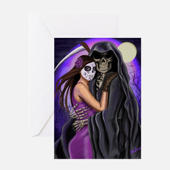 Grim Reaper Lovers Embrace Greeting Card