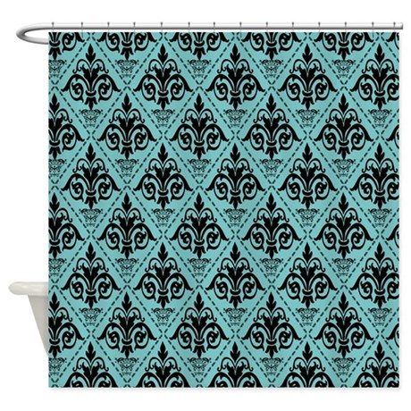 Black & Aqua Sky Damask #29 Shower Curtain