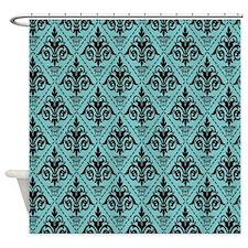 Black & Aqua Sky Damask #29 Shower Curtain