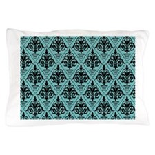 Black & Aqua Sky Damask #29 Pillow Case