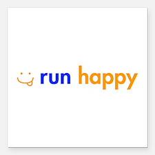 """run-happy-smile-orange-blue Square Car Magnet 3"""" x"""