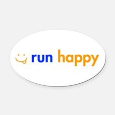 run-happy-smile-orange-blue Oval Car Magnet