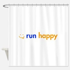 run-happy-smile-orange-blue Shower Curtain