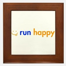 run-happy-smile-orange-blue Framed Tile