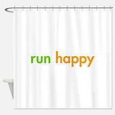 run-happy-fut-green-orange Shower Curtain