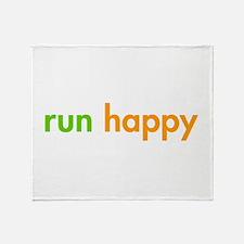 run-happy-fut-green-orange Throw Blanket