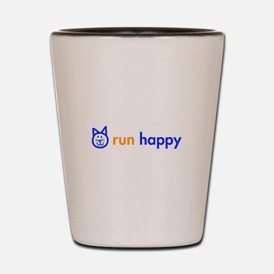 run-happy-cat-blue Shot Glass