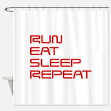 run-eat-sleep-repeat-SAVED-RED Shower Curtain