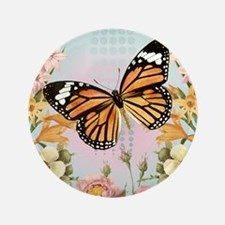 "Modern Vintage Monarch butterfly 3.5"" Button"