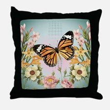 Modern Vintage Monarch butterfly Throw Pillow