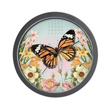 Modern Vintage Monarch butterfly Wall Clock