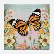 Modern Vintage Monarch butterfly Tile Coaster