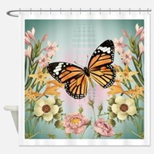 Modern Vintage Monarch butterfly Shower Curtain