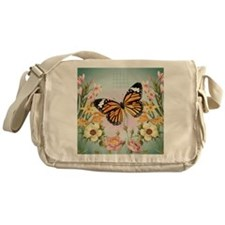 Modern Vintage Monarch butterfly Messenger Bag