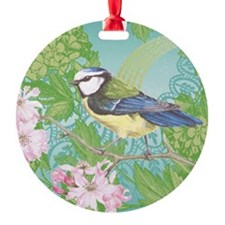 Modern vintage bird on cherry blossom branch Ornam