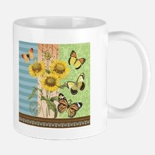 Modern Vintage French sunflowers and butterflies M