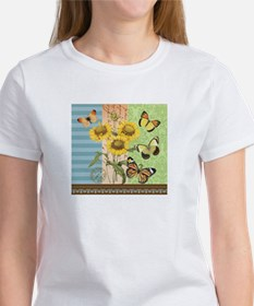 Modern Vintage French sunflowers and butterflies T