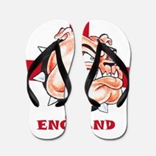 English Bulldog With St Georges Cross Flip Flops