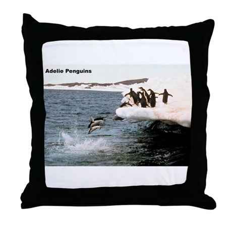 Adelie Penguins Throw Pillow