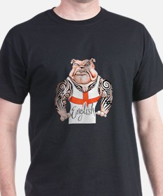 English Bulldog with Tribal Tattoos T-Shirt