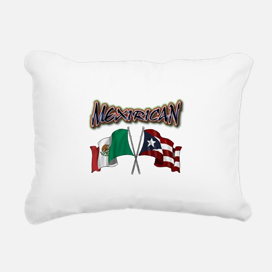 MexiRican Flags centered Rectangular Canvas Pillow