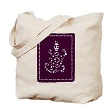 African Tribal Turtle ---purple and White Tote Bag