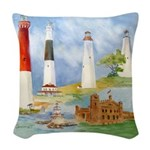 New Jersey Light House Woven Throw Pillow