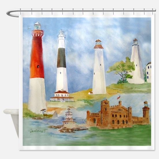 New Jersey Light Houses Shower Curtain